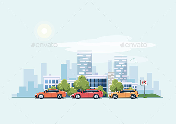 Parking Cars on the Street with City Background - Man-made Objects Objects