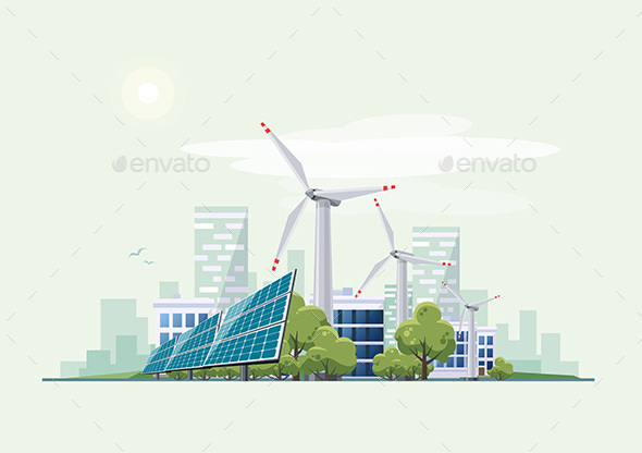 Green Eco City Urban with Solar Panels and Wind Turbines - Miscellaneous Conceptual