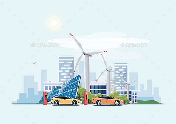 Electric Cars Charging Eco City - Industries Business