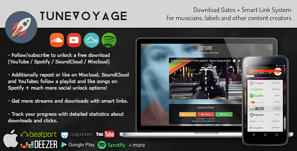TuneVoyage - Follow to Download (SoundCloud/Spotify/YouTube/Mixcloud) & Smart Link System - CodeCanyon Item for Sale