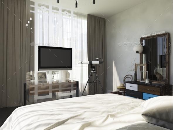 3d Illustration of Bedroom Interior Design - Architecture 3D Renders