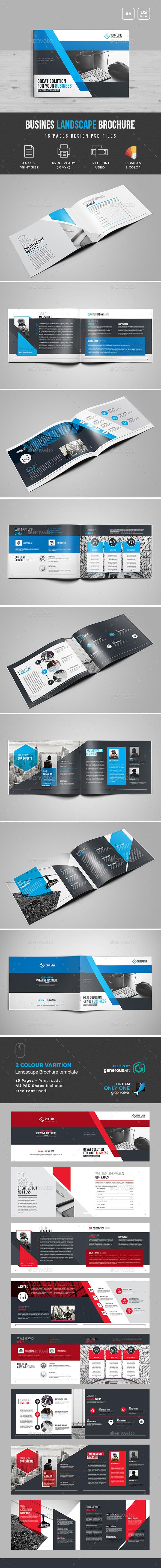Landscape Bi-Fold Brochure Template - Corporate Brochures
