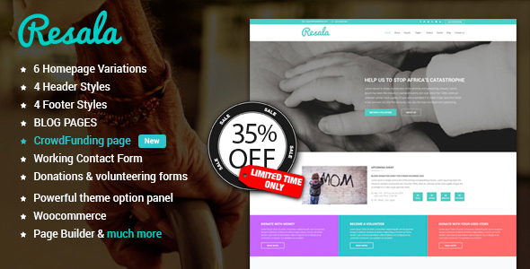Resala Charity & Crowdfunding WordPress theme RTL