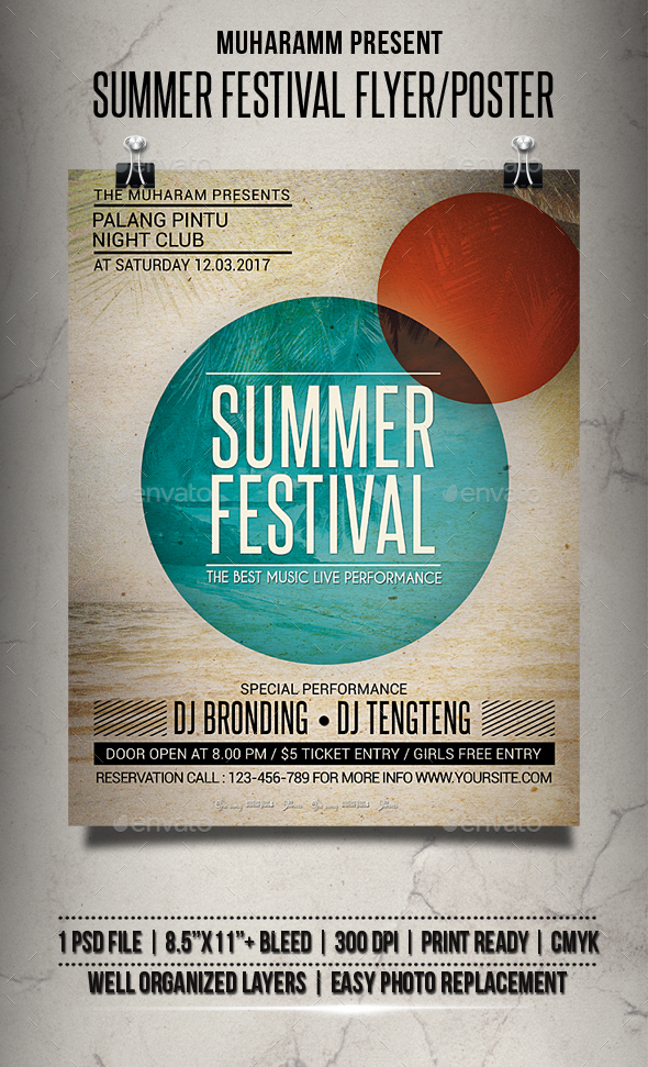 Summer Festival Flyer / Poster - Clubs & Parties Events