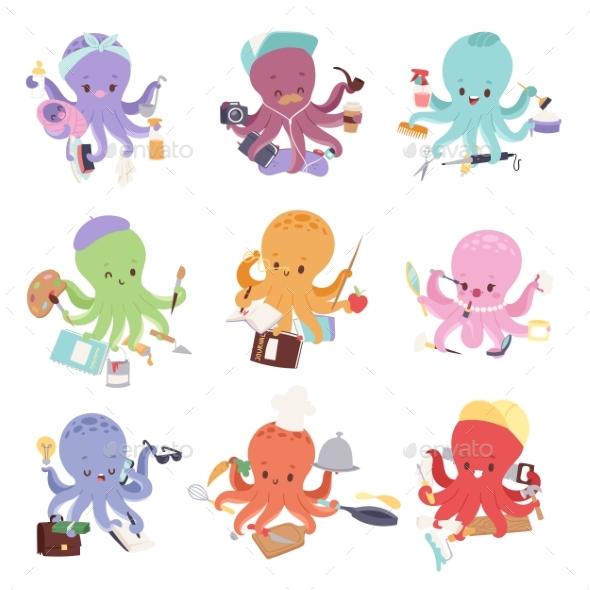 Octopus Mollusk Ocean Coral Reef Animal Character - Animals Characters