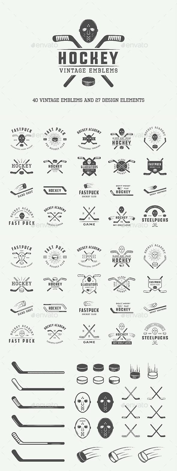 Vintage Hockey Emblems - Badges & Stickers Web Elements