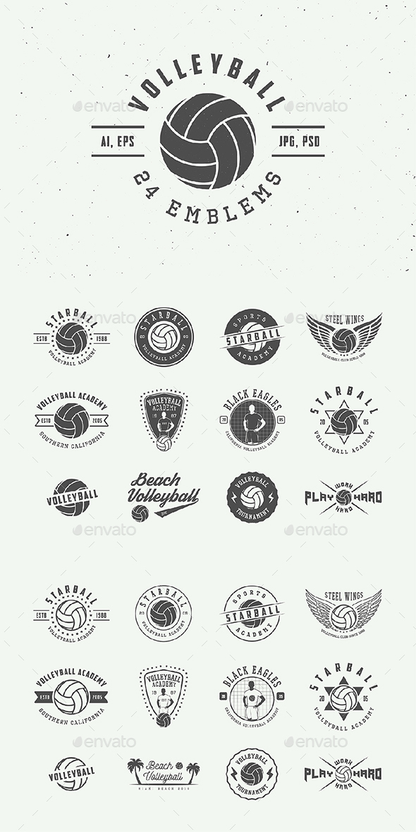Vintage Volleyball Emblems - Badges & Stickers Web Elements