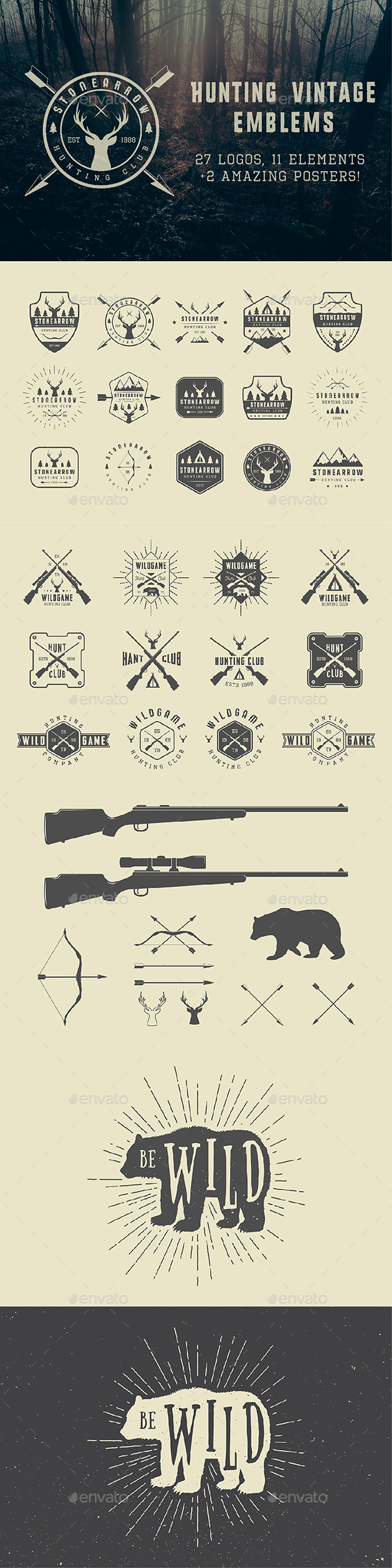 Vintage Hunting Emblems - Badges & Stickers Web Elements