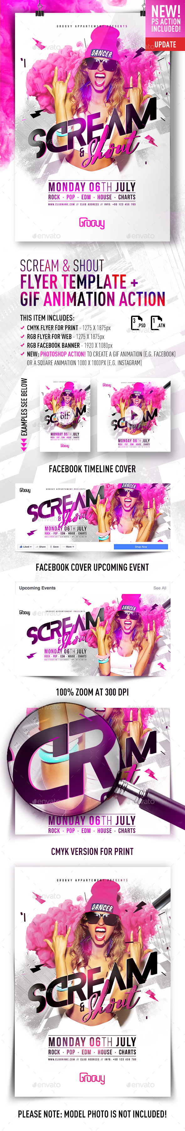 Scream & Shout Flyer Template + GIF Animation Action by feelsmart ...