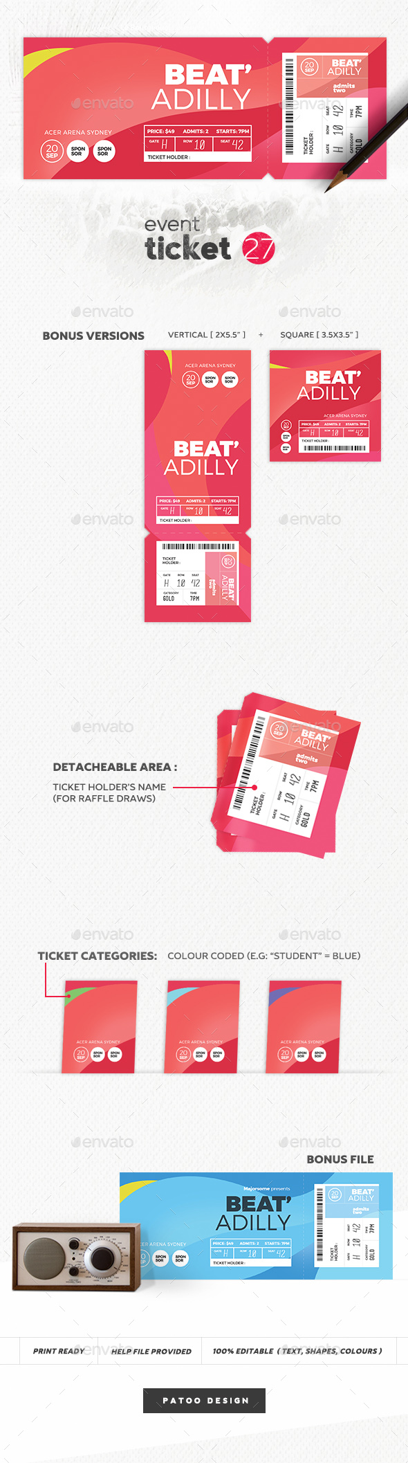 Event Ticket Template 27 - Print Templates