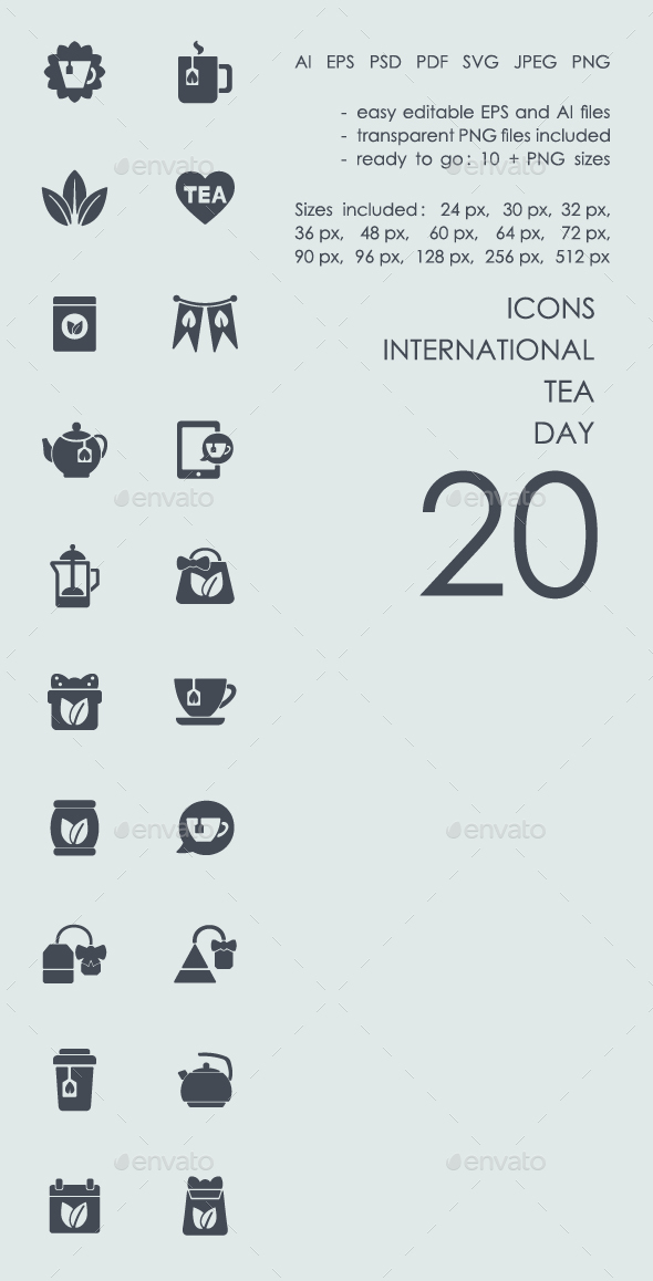 International tea day icons - Icons