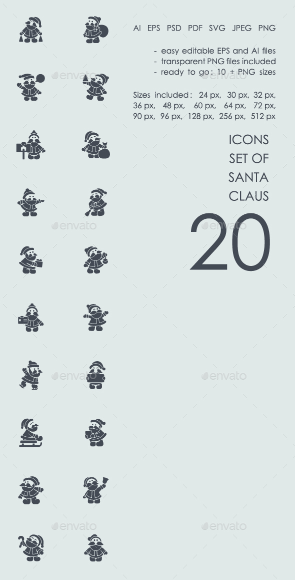 Set of Santa Claus icons - Icons