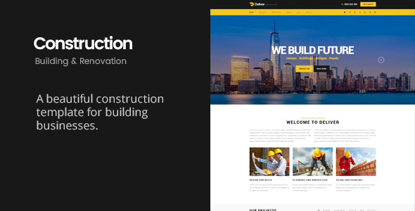 Deliver Construction   Building & Renovation HTML Template - Business Corporate