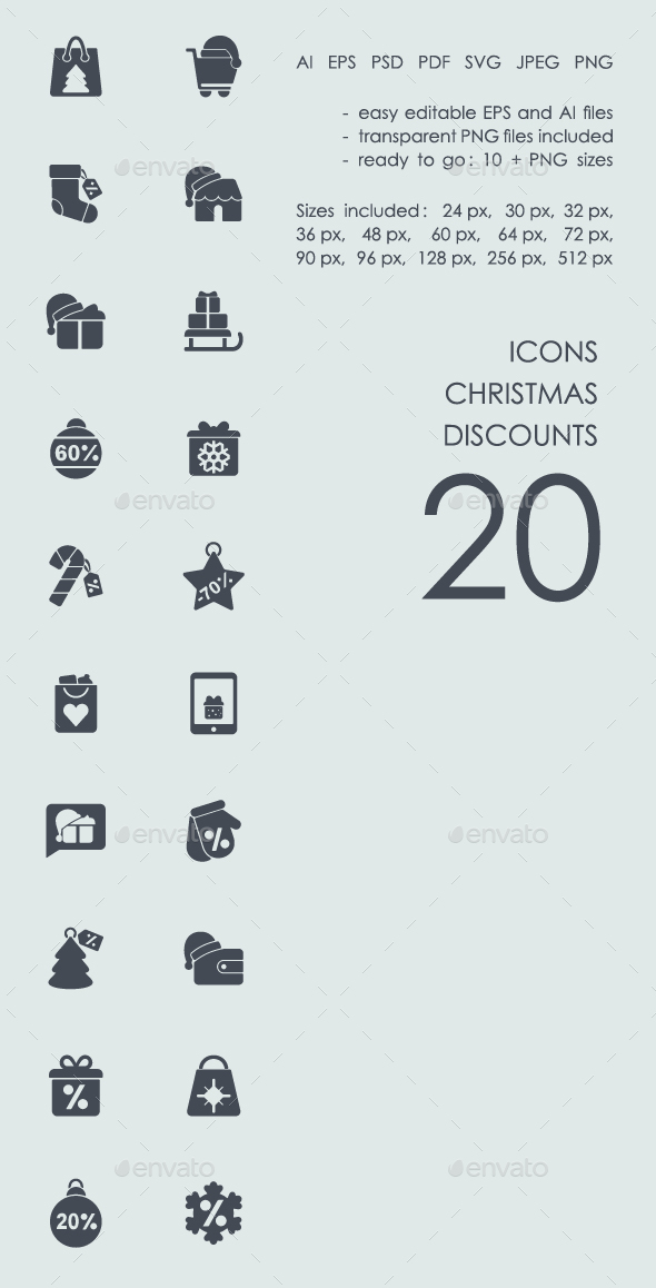 Christmas discounts icons - Icons
