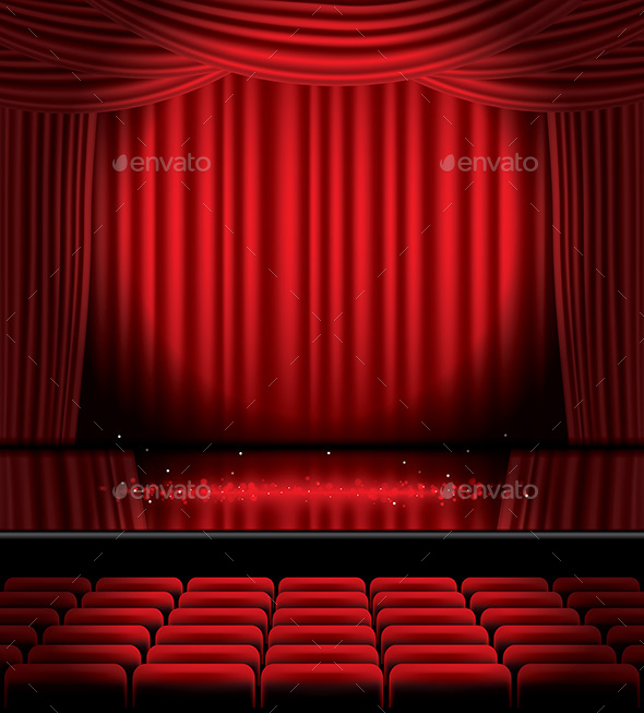 Open Red Curtains with Seats and Copy Space - Miscellaneous Conceptual