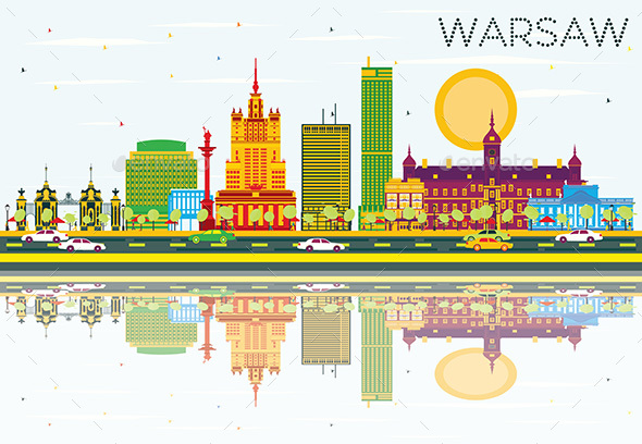 Warsaw Skyline with Color Buildings, Blue Sky and Reflections. - Buildings Objects