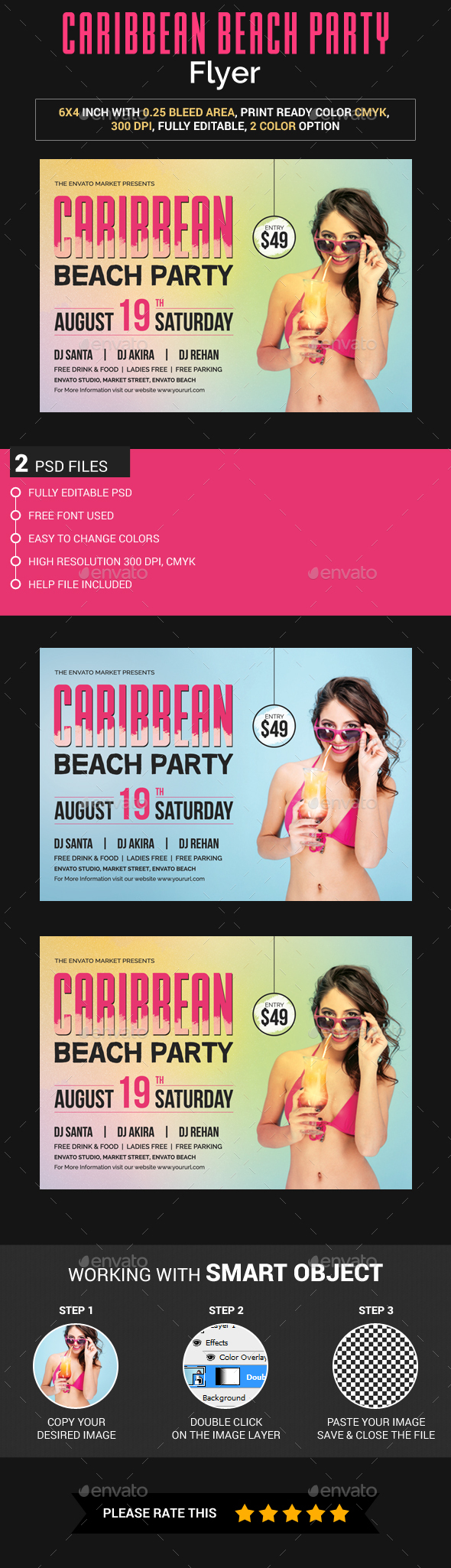 Caribbean Beach Party Flyer - Clubs & Parties Events