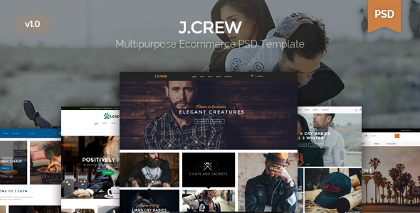 Jcrew - Multipurpose Ecommerce PSD template - Retail PSD Templates