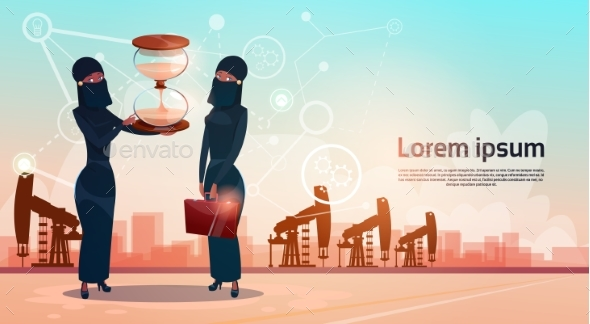 Arab Woman With Sand Watch Money Pumpjack Oil Rig - Concepts Business