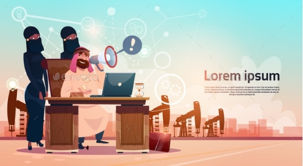 Arab Business Man Working wIth Laptop Computer - Concepts Business