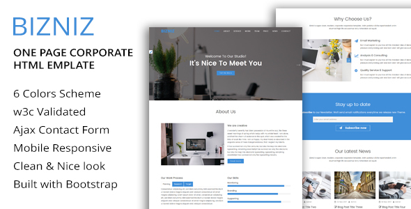 BIZNIZ – One Page Corporate HTML Template