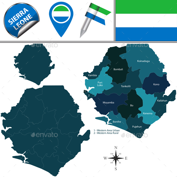 Map of Sierra Leone with Named Districts - Travel Conceptual