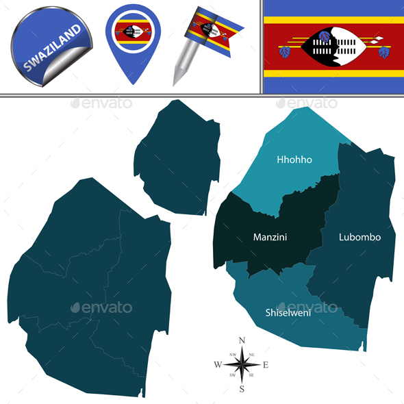 Map of Swaziland with Named Regions - Travel Conceptual