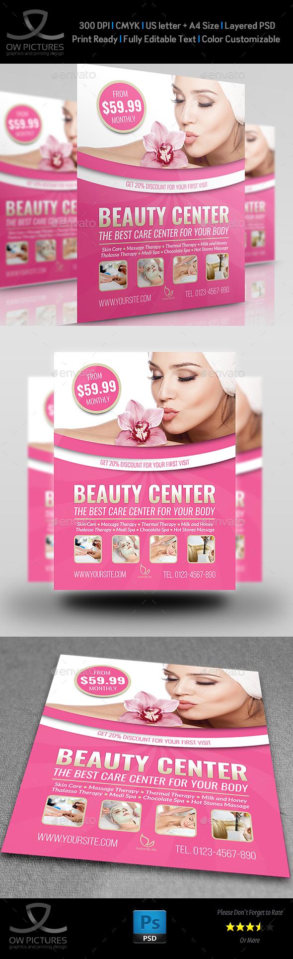 Beauty Center Flyer Template - Flyers Print Templates