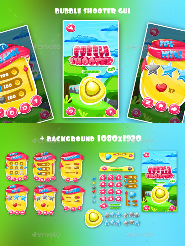 Bubble Shooter Game Interface - User Interfaces Game Assets