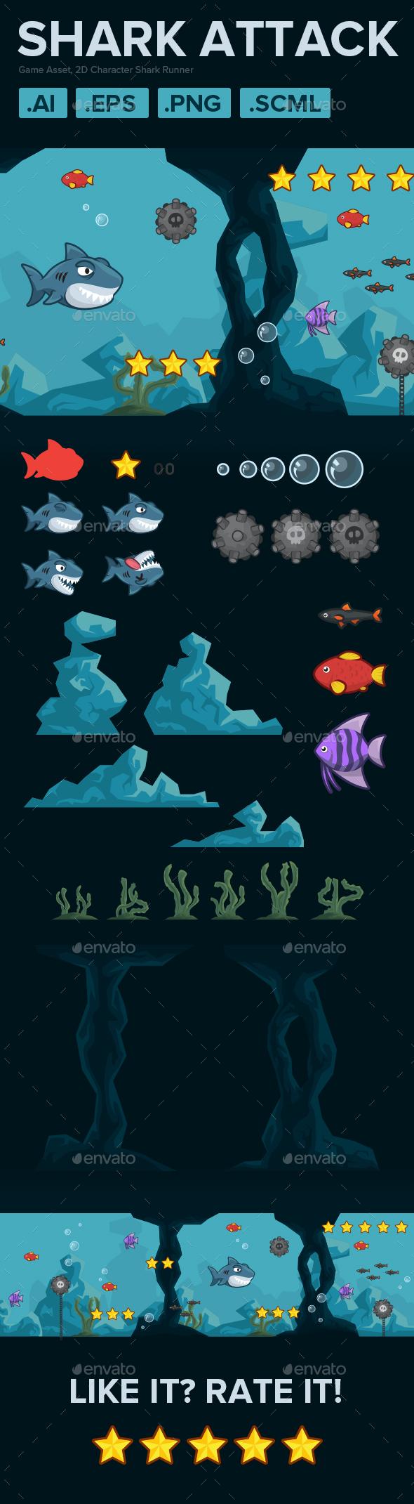 2D Character Shark Runner - Game Kits Game Assets