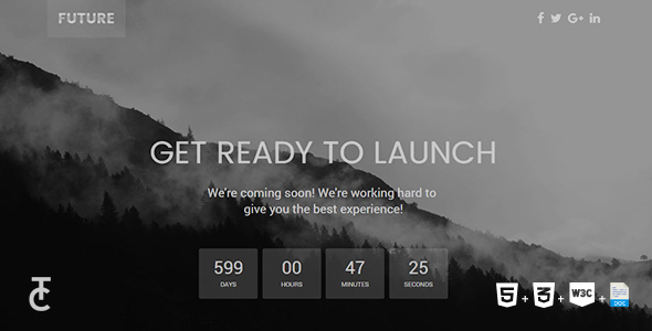 Future - Clean Coming Soon HTML5 Template - Under Construction Specialty Pages