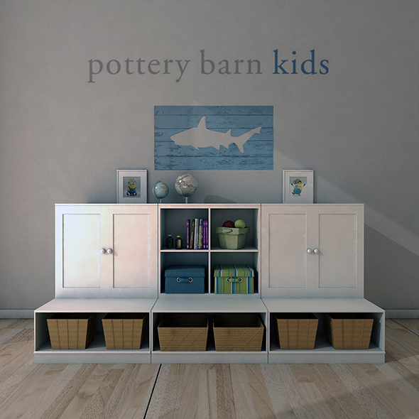 Pottery Barn, Cameron Low Storage System with Open Bases. - 3DOcean Item for Sale