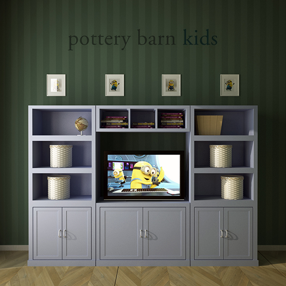Pottery Barn, Preston Extra Wide Media Wall System. - 3DOcean Item for Sale