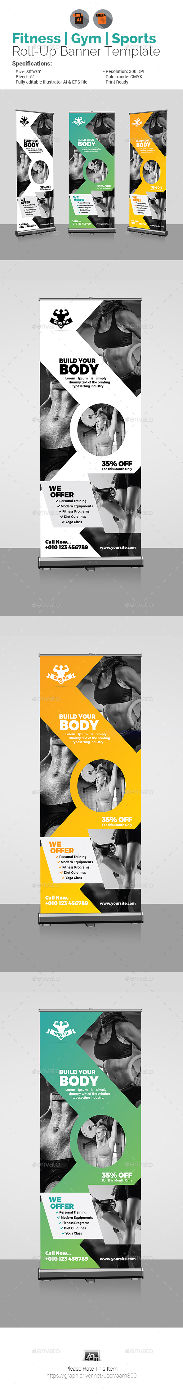 Fitness Roll Up - Signage Print Templates