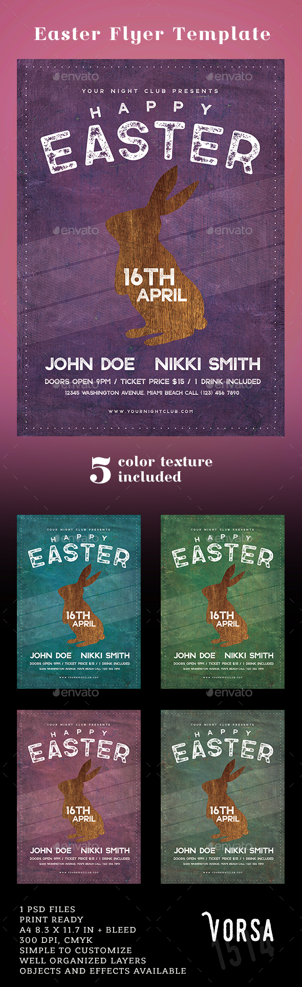 Easter Flyer Template - Clubs & Parties Events