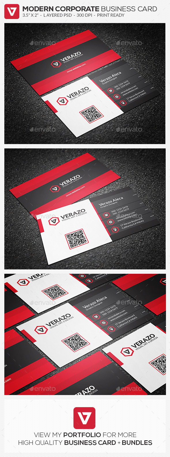 Bold Red Corporate Business Card Template - Corporate Business Cards