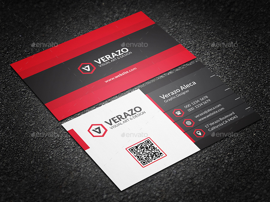 Bold Red Corporate Business Card Template By Verazo Graphicriver