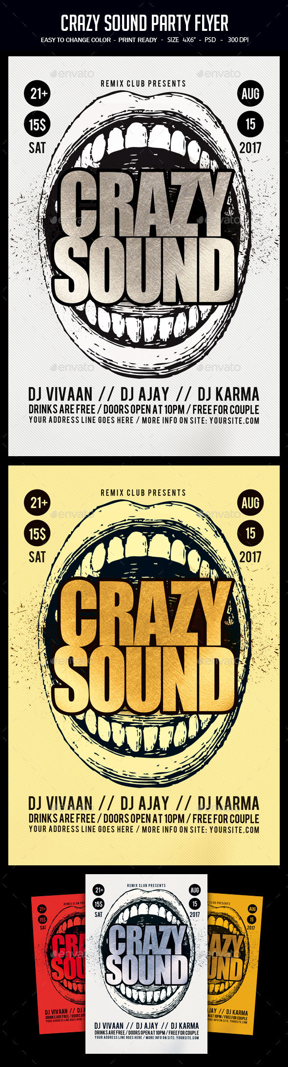 Crazy Sound Party Flyer - Clubs & Parties Events