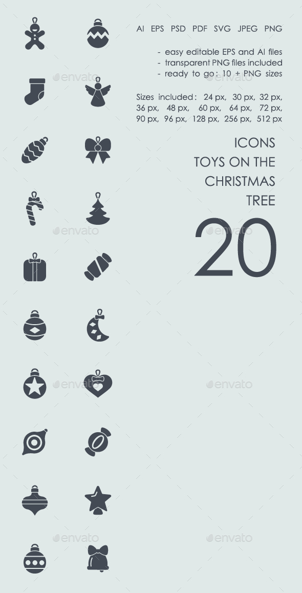 Toys on the Christmas tree icons - Icons