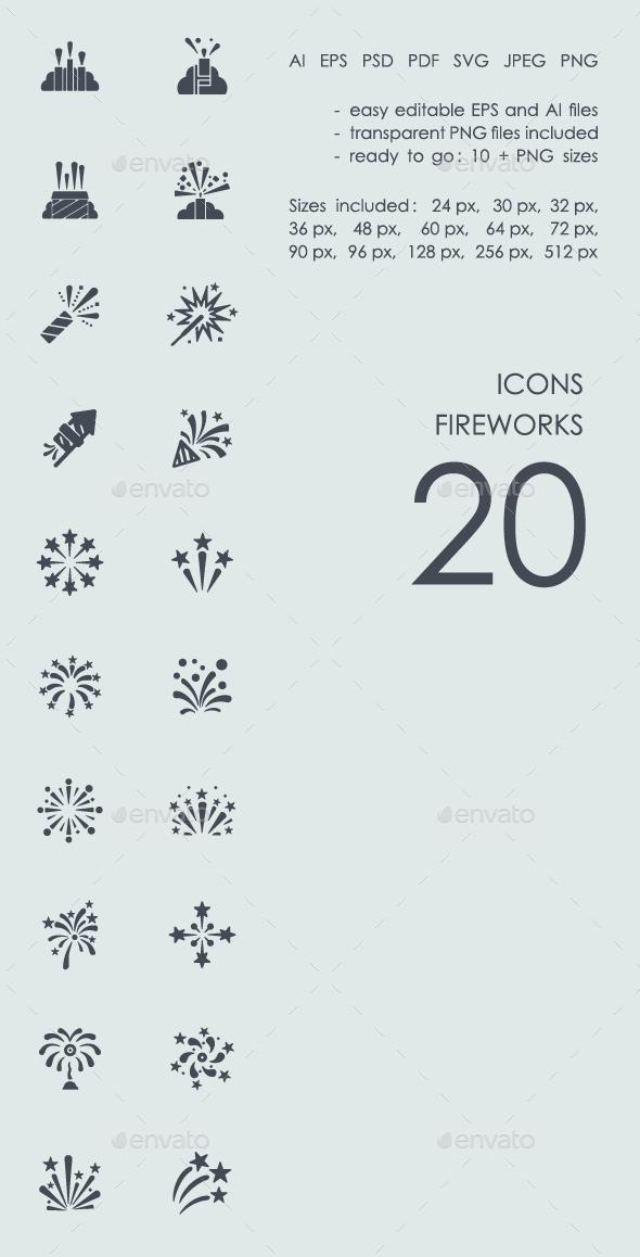 Set fireworks icons - Icons