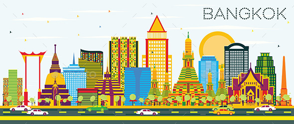 Bangkok Skyline with Color Landmarks and Blue Sky. - Buildings Objects