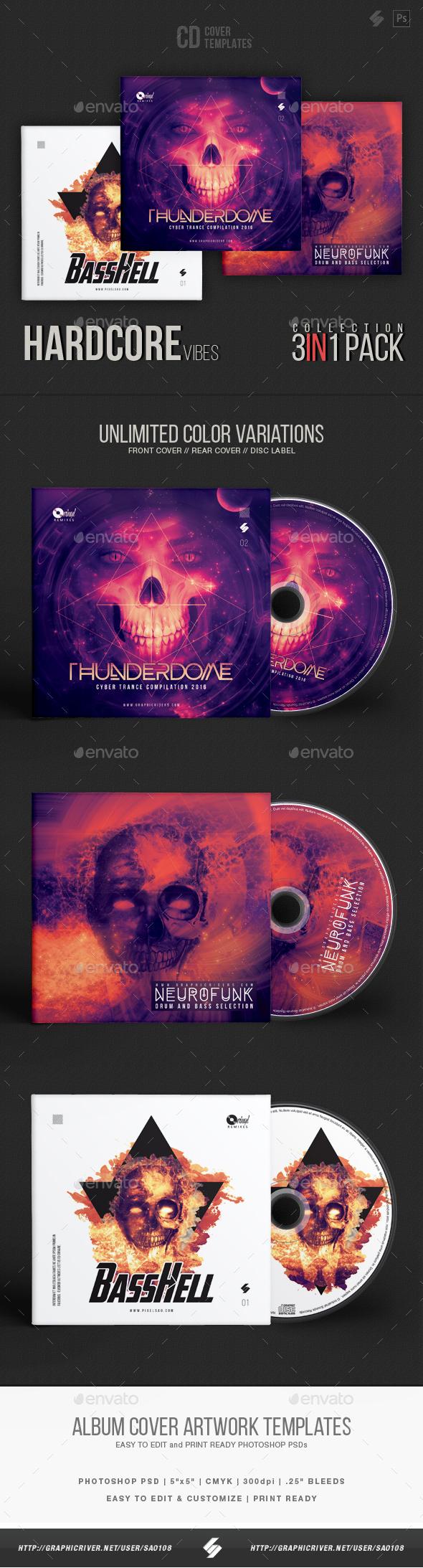 Hardcore Vibes - CD Cover Artwork Templates Bundle - CD & DVD Artwork Print Templates