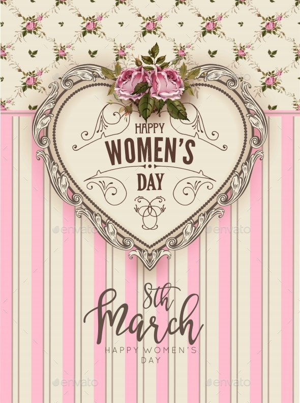 Women Day Retro Greeting Card Flower Heart on Pink - Flowers & Plants Nature