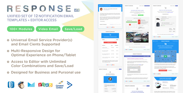 Response - UXified Set of 12 Notification Email Templates + Online Editor