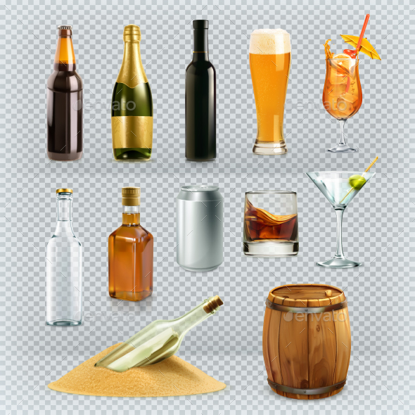Bottles And Glasses Alcohol Drink - Vectors