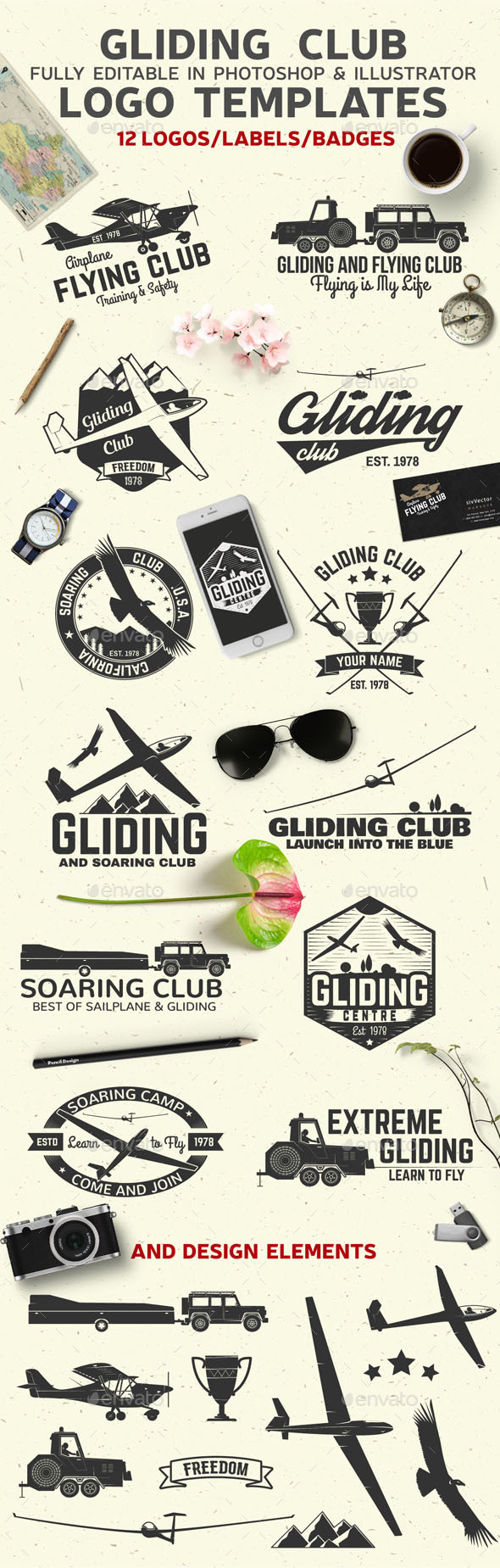 Gliding Club Logo Templates - Badges & Stickers Web Elements