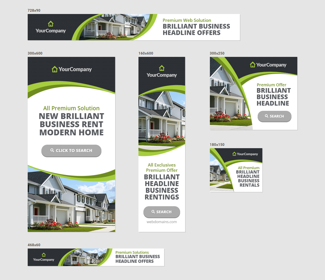 Real Estate Agency Banners HTML Ad Templates By InfiniWeb - Real estate ad templates
