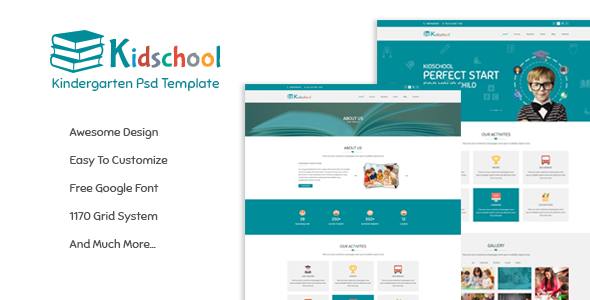 Kidschool – Kindergarten School PSD Template