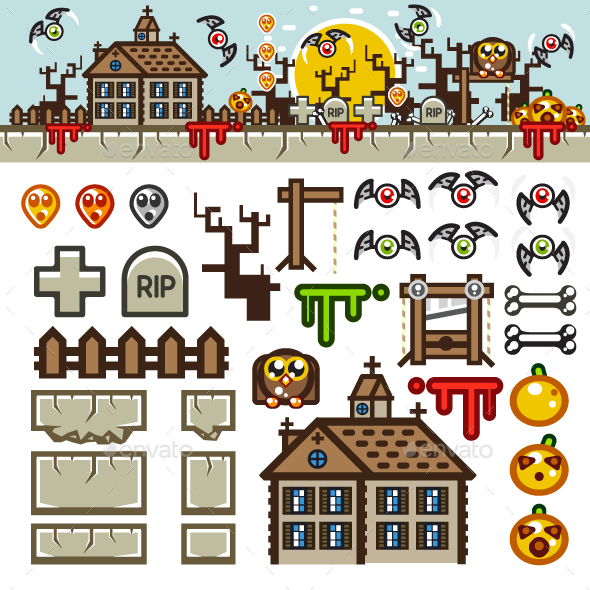 Halloween Flat Game Level Kit - Backgrounds Game Assets