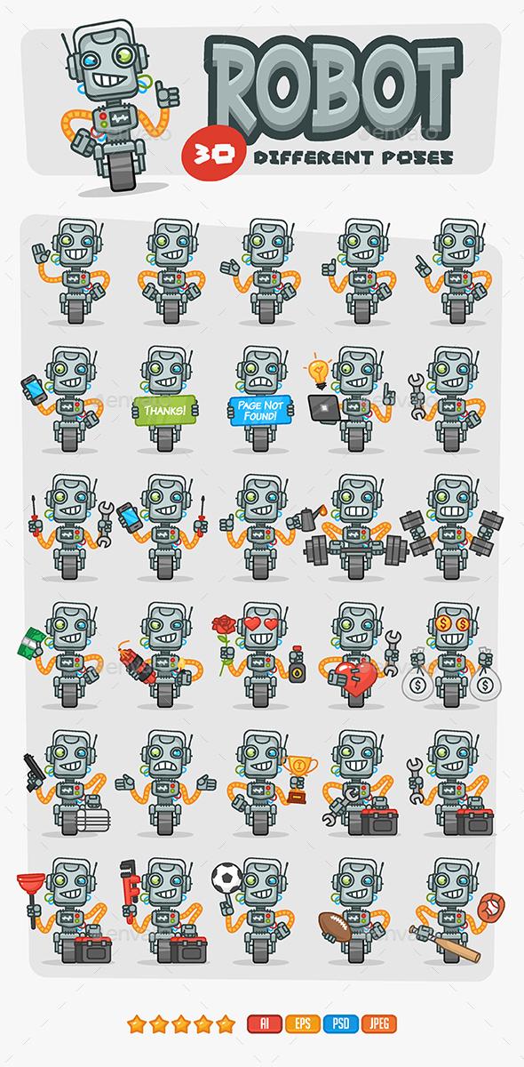 Robot Mascot Pack - Characters Vectors